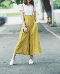Yellow Linen Women Overall Pants Dress Linen Jumpsuits Women WideLeg Pants Linen Dresses, Casual Dresses, Casual Outfits, Yellow Pants Outfit, Informal Attire, Fashion Pants, Fashion Outfits, Coats For Women, Clothes For Women