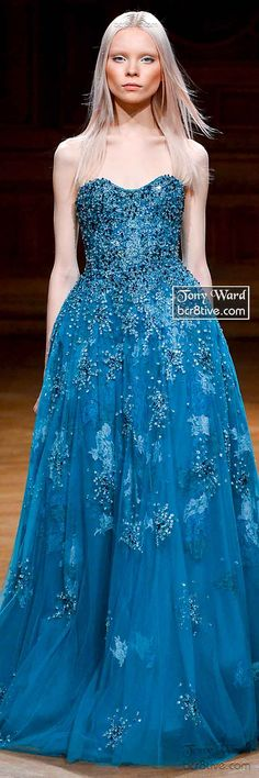 Sea Blue Strapless and Beaded Gown