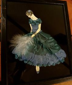 Framed Ribbon Art Deco Lady Doll Girl Boudoir Picture   eBay