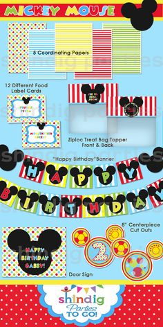 Mickey bday banner, more girly colors for minnie