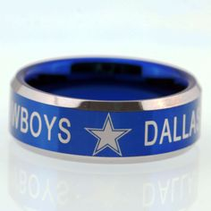 Free Shipping YGK JEWELRY Hot Sales 8MM Dallas Cowboys Design Men's Blue Tungsten Comfort Fit Ring
