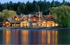 Log cabin lake house