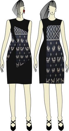 Ikat dress sketch