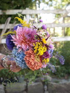Dahlias, Hydrangea and Zinnia Bouquet