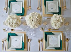 teal and gold modern table