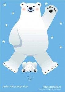 Bewegingskaarten ijsbeer voor kleuters 16 , onder het poortje door , kleuteridee.nl, thema Noorpool, Movementcards for preschool, free prin...