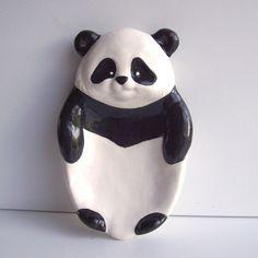 Ceramic Panda Bear Soap Dish Tray / Spoon rest Vintage Design