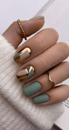 Chic Nails, Stylish Nails, Trendy Nails, Swag Nails, Chic Nail Art, Elegant Nails, Best Acrylic Nails, Acrylic Nail Designs, Green Nail Designs
