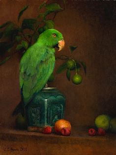 Still Life With Green Parrot and Raspberries, 2008 - Louise Camille Fenne (Danish, b. 1972)