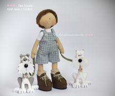 Boneco Artesanal de Tecido com Cachorros de Feltro (schnauzer sal com pimenta e schnauzer branco)