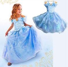 Bleue-Cendrillon-Cinderella-Robe-Deguisement-Costume-La-Reine-Enfant-Fille-NEUF