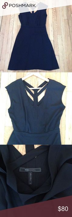"""BCBGMaxAzria Katryn Black Dress Size 4 BCBGMaxAzria Katryn Black Dress. Y-shaped yoke in front and back, cap sleeve, side zip. Hits above the knee. Style number is WQR6Y281. 100% polyester, fully lined. Size 4, 19"""" armpit to armpit, 38.5"""" shoulder to hem, 28"""" waist. Such a cute simple little black dress! In excellent condition. No trades, bundle discount available! BCBGMaxAzria Dresses Mini"""