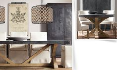 "restoration hardware dining rooms | Salvaged Wood & Concrete 108"" Rectangle Dining Table Salvaged Natural"