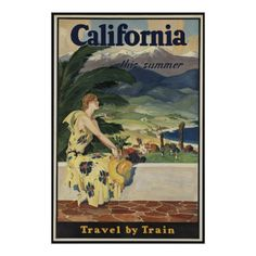 California Vintage Travel Poster Ad Retro Prints