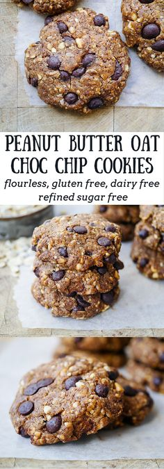 Peanut Butter Oat Choc Chip Cookies   Gluten free, flourless cookies with natural peanut butter, rolled oats and studded with dark choc chips. Sweetened with stevia, dairy free!   by Nourish Everyday
