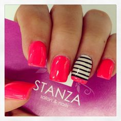 Rotate that accent nail 90 degrees and place the color strip at the 2/3 point