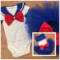 Bring back old memories when you dress your little princess in this adorable Sailor Moon inspired tutu set Tutu set includes top or onesie with wide collar with Velcro closure for easy on and off. Full and fluffy blue tutu with large red bow on back