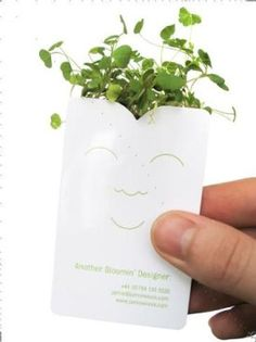 """Bloomin"" Business Card. add a bit of water and poof, a miniature garden business card :)"