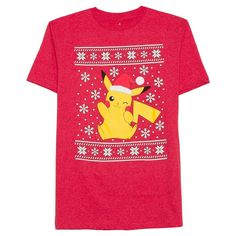 Pokemon Men's Big & Tall Pikachu Santa T-Shirt Red Heather