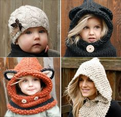I really need to learn how to knit and/or crochet. (Crochet and Knitting Patterns) Diy Crochet Hat, Bonnet Crochet, Learn To Crochet, Crochet For Kids, Crochet Crafts, Crochet Baby, Loom Knitting, Baby Knitting, Knitting Projects