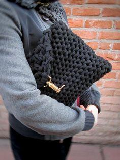 Black knit clutch chunky knit black bag bulky by LogicFreeDesign