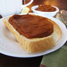 "Pumpkin Butter | ""This pumpkin butter is an excellent hostess present, and is a wonderful spread for toast and muffins. It can also be used to make a spectacular holiday dessert, Pumpkin Pecan Cheesecake."""