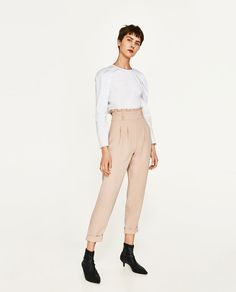 HIGH WAISTED TROUSERS-TROUSERS-WOMAN   ZARA United States