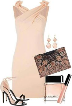 Champagne & black cocktail outfit