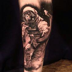 #Space #monkey tattoo by Matt Jordan from Ship Shape Tattoo #MattJordan #savemyink