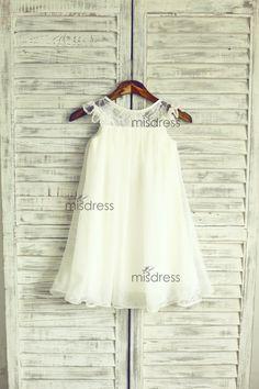 Ivory Blush Pink Lace Chiffon Flower Girl Dress Cap Sleeves Wedding Easter Junior Bridesmaid Baptism Baby Infant Children Toddler Kids Dress