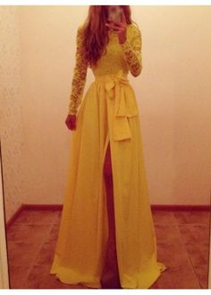 Too hot for an August wedding but gorgeous Lace and Chiffon Yellow Dress on sale US$23.92 now modlily.com