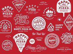 Fröhliche Pizza – Logo and Badge Inspiration - Pizza Logo, Pizza Branding, Logo Branding, Brand Identity, Typography Logo, Typography Design, Logo Pizzeria, Happy Logo, Pizza Art