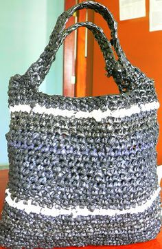 Tote- Crocheted from plastic bags
