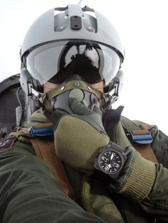 Air Force Pilot wearing a Bell & Ross aviation watch Jet Fighter Pilot, Fighter Jets, Military Jets, Military Aircraft, Plane And Pilot, Bell Ross, Fighter Aircraft, War Machine, Special Forces