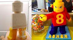 Lego Man Figure 8 Cake - Before