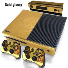 Gold Glossy Skin Sticker For Xbox ONE Console Controller + Kinect Decal Vinyl 7625634886146 Xbox One Video, Video Games Xbox, Xbox One Games, Xbox One Skin, Playstation, Wii, Macbook, Deadpool, Sony