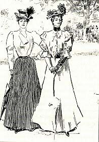 Two Gibson girls, black and white sketch. Annie?