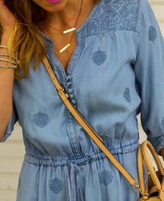 polkadot chambray dress with layered necklaces