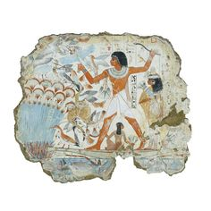 Nebamun hunting in the marshes, fragment of a scene from the tomb-chapel of Nebamun Thebes, Egypt Late 18th Dynasty, around 1350 BC