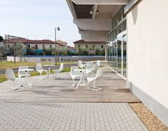 """MYTO chairs and MIURA tables, design Konstantin Grcic, at Centro Culturale """"Le Creste"""" in Rosignano Marittimo. Architecture: Area Progetti Srl, Torino And Una2 Architetti Associati, Genova Supplier: Tecnocoop Srl, Mori Photography: Andrea Bosio  http://www.plank.it/product/miura-table/  http://www.plank.it/product/myto-chair/"""
