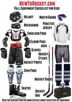 One of the first things you're going to have to do when taking up hockey is get the proper hockey equipment. Due to minor hockey rules children require Hockey Room, Youth Hockey, Hockey Rules, Hockey Gear, Hockey Girls, Hockey Stuff, Boys, Hockey Pads, Hockey Socks