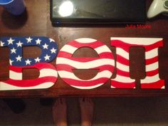 hand painted american flag beta theta pi wooden letters