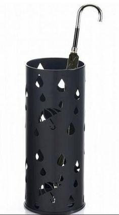 mDesign Portaombrelli Moderno Porta ombrelli cilindrico in Metallo Nero Opaco Contenitore per ombrelli con vaschetta raccogli Gocce