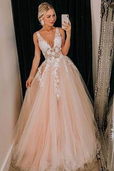 Light Pink Tulle V Neck Applique Lace Wedding Dress/Prom Dress - Prom Dresses Wedding Dress Black, Tulle Skirt Wedding Dress, Blush Pink Wedding Dress, Dream Wedding Dresses, Lace Dress, Tulle Lace, Lace Bodice, Tulle Wedding, Gold Dress