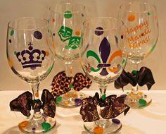 Mardi Gras Wine Glasses  Set of 4 by melaniedupuy on Etsy, $44.00