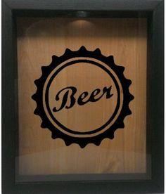 """Wooden Shadow Box Wine Cork/Bottle Cap Holder 9""""x11"""" - Beer Cap (Ebony w/Black)"""