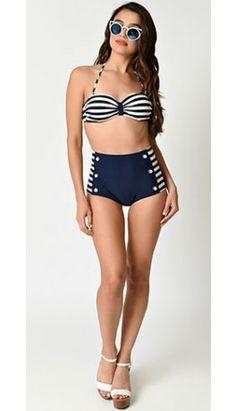 Retro Sailor Navy & White Stripe Halter Two Piece High Waist Swimsuit