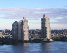 View of Waterfront Square condos from the Patco Speed Line crossing the Ben Franklin Bridge