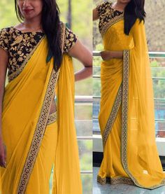 Georgette Border Work Yellow Plain Saree - at INR 1499 Modern Indian Sari Press VISIT link above for more options Saree Blouse Patterns, Saree Blouse Designs, Plain Saree With Heavy Blouse, Black Saree Plain, Indian Dresses, Indian Outfits, Indian Clothes, Sari Bluse, Party Kleidung