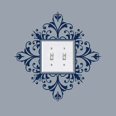 Vinyl Light Switch Decal, Scroll Damask Light Switch Embellishment- Double, Sticker,  item 30024